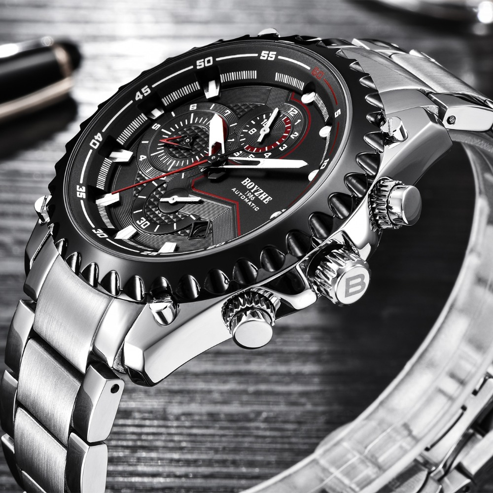 BOYZHE reloj automático de la marca de los hombres de acero inoxidable resistente al agua relojes mecánicos de deporte para hombre cronógrafo reloj masculino-in Relojes mecánicos from Relojes de pulsera    1