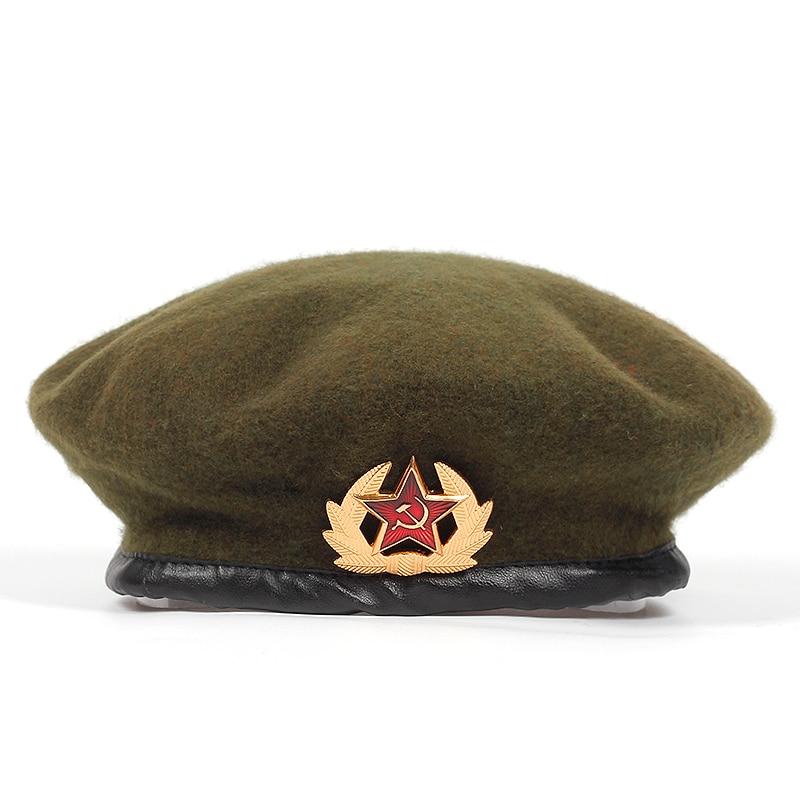 13132b84f new High Quality Wool% Russian Army Berets for Men Women national emblem beret  Hat Adult adjustable Hat Caps Bone Garros-in Men's Berets from Apparel ...