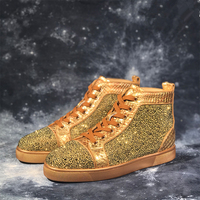 Genuine Leather Gold Mens Sneakers Luxury Crystal Lace Up High Top Mens Casual Shoes Street Style Party Dress Shoes zapatos 48