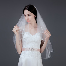 Romantic Short Bridal Veil Bead 2 layers 75 cm *100 With Comb White Tulle for Wedding Party 2019