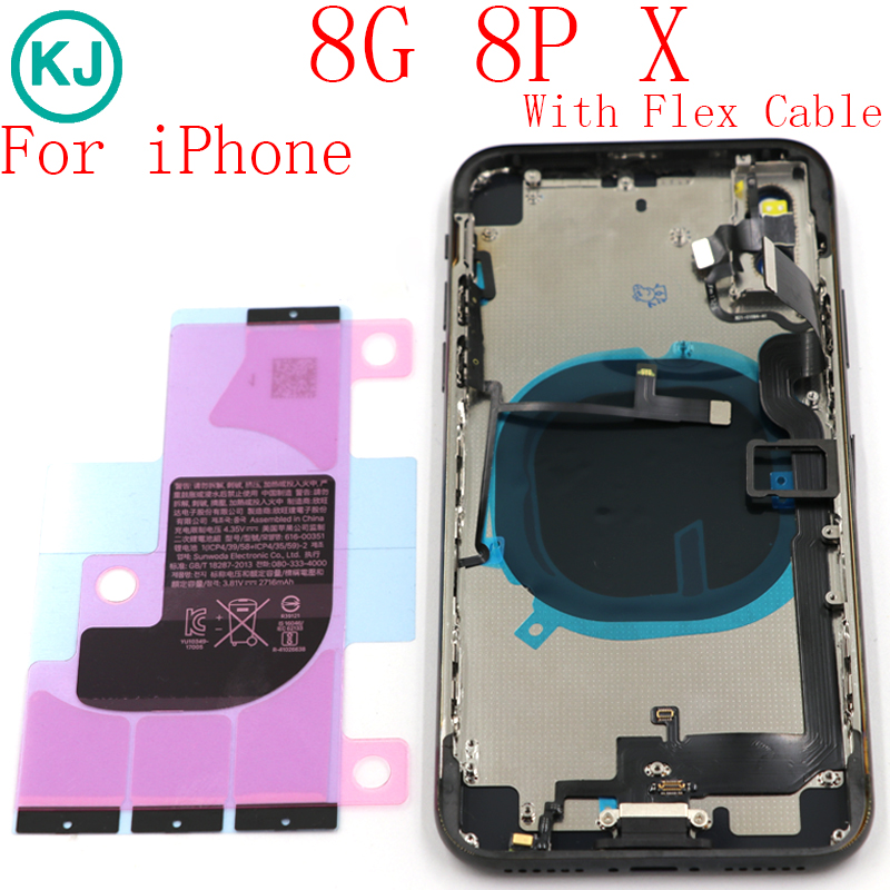 For iPhone 8G 8 Plus Back Cover Battery Housing Chassis Frame For iphone X Battery Back Door With Flex Cable Sticker AssemblyFor iPhone 8G 8 Plus Back Cover Battery Housing Chassis Frame For iphone X Battery Back Door With Flex Cable Sticker Assembly