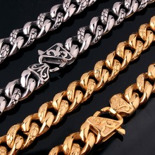 14mm Retro Hot Stainless Steel Silver/Gold Buckle Cuban Curb  Pattern Chain Men's Women's  Necklace Or Bracelet Jewelry 7-40inch