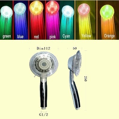Free shipping NEW adjustable magic 7 Colors LED Sprinkler Shower Head with CE and ROHS ABS Multi-color Energy Saving