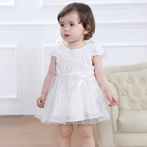 20c785c0f 2014 new branded pure white color short sleeve princess baby girl party  dresses full of rose flowers cotton lining 1st Birthday-in Dresses from  Mother ...