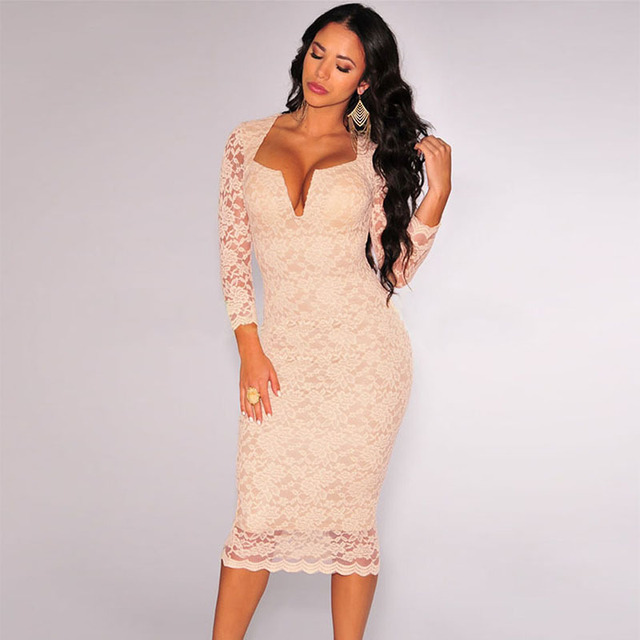6ca921ad2650 Bodycon Midi Dress 2016 Nude Lace Long Sleeves Plunging V Neck Sexy Party  Woman Dresses Vintage Slim Fit Bodycon Pencil Robes