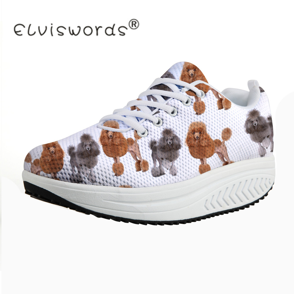 ELVISWORDS Health Female Women Swing Shoes Animal Poodle Dog Printed Brand Teenager Student Girls Increasing Shoes for Ladies tesoura de tosa fenice