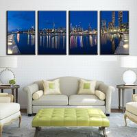 4 Pcs/Set Modern Artist Canvas Painting Landscape Wall Art Picture Blue Night Of City Over Lake Canvas Prints Wall Paintings