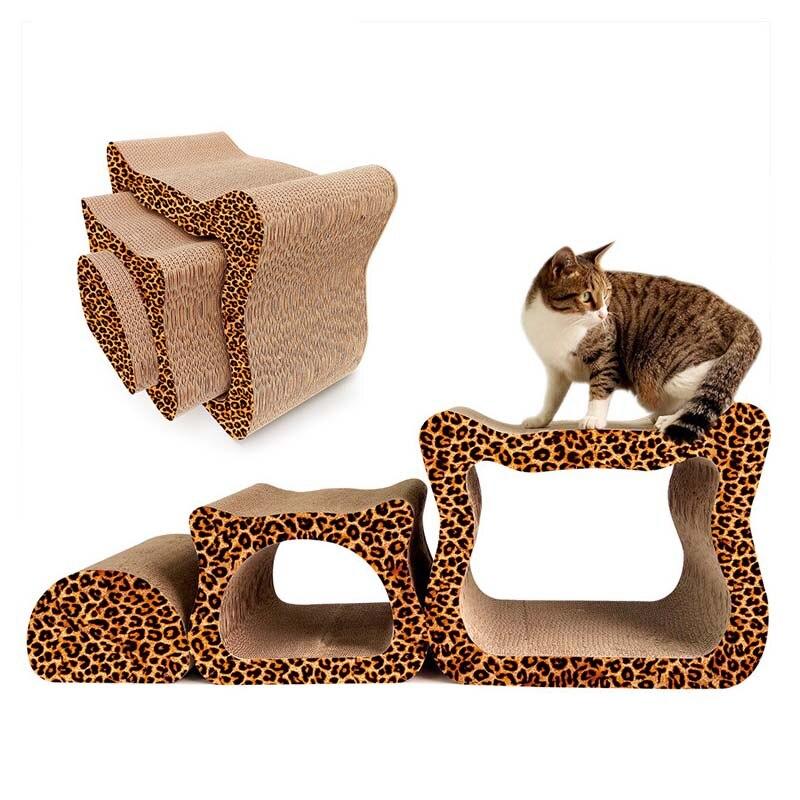 Trois pièces haute densité ondulé papier carton chat Scratcher conseil jouet meubles chats grattage poteaux chaton maison Condos