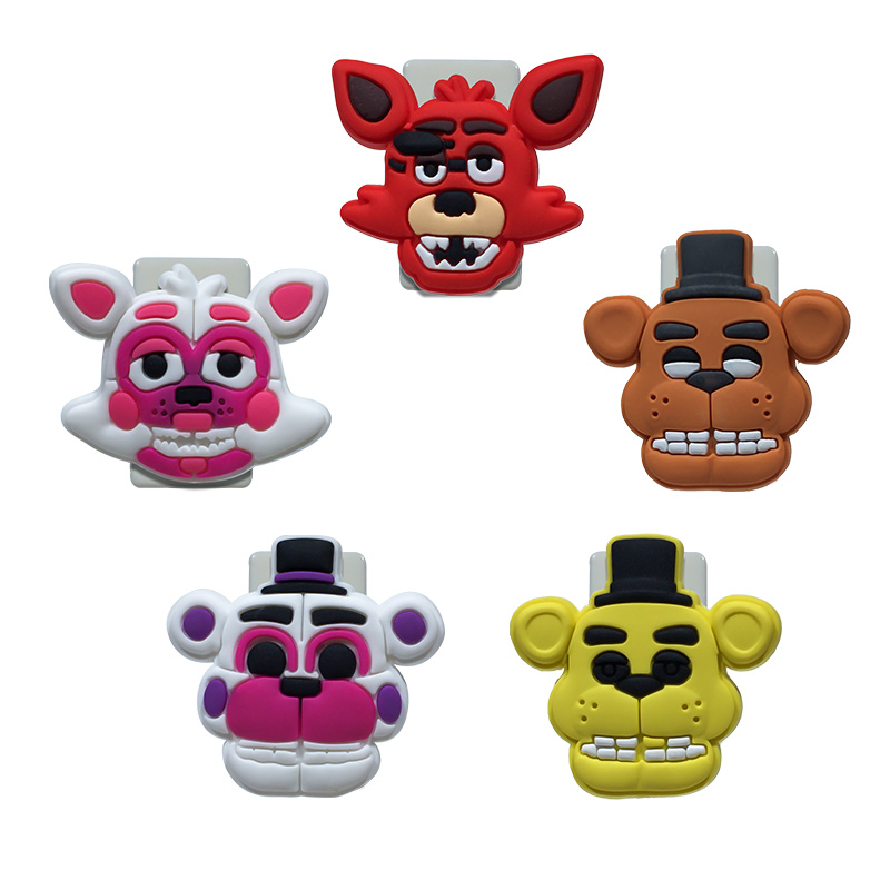 5PCS Pvc Cartoon Paper Clips Five Nights At Freddy's Bookends Office & School Accessories Conductive To Collect Bind Classify