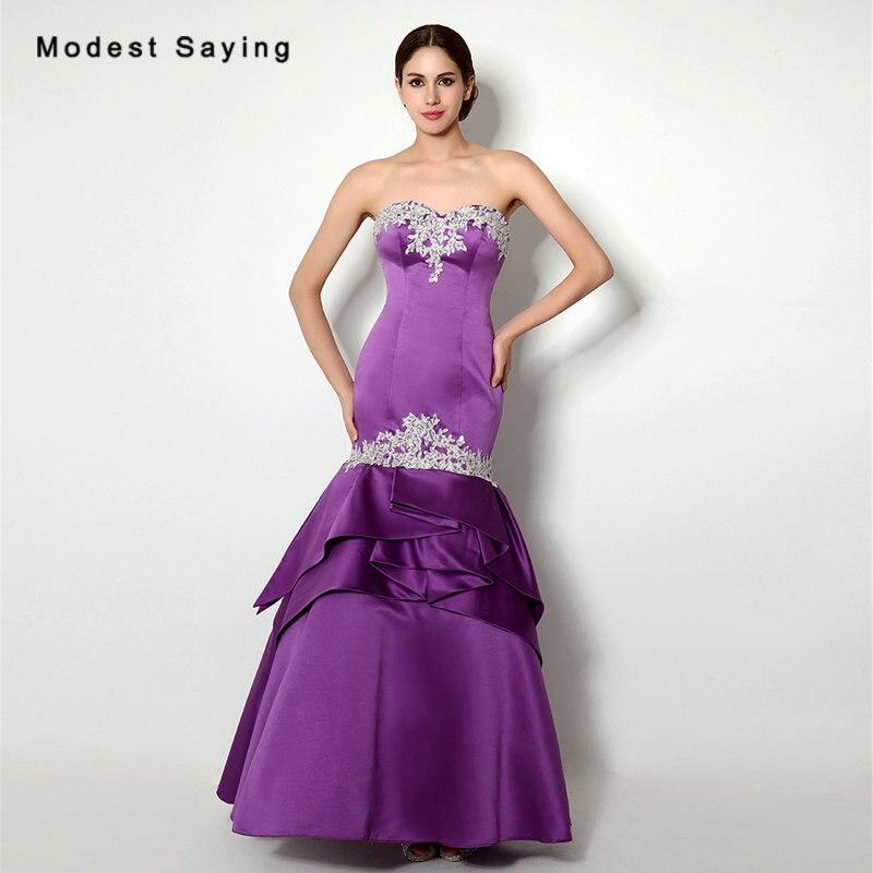 Sexy Purple Mermaid Sweetheart Beaded Lace Ruffles Evening Dresses 2017 Formal Women Satin Party Prom Gowns vestido de festa