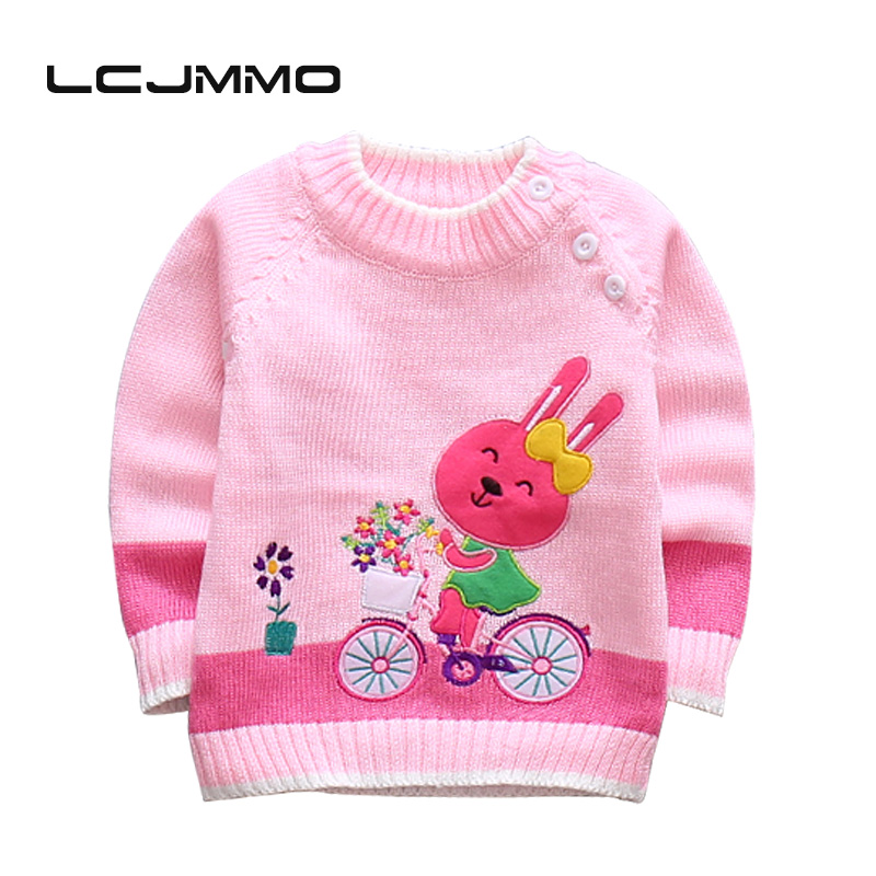 LCJMMO New Baby Girls Sweaters Winter 2017 Cotton Kids Shoulder Buckle Pullover Knitted Clothes For Girl Cartoon rabbit Sweater rabbit print pullover