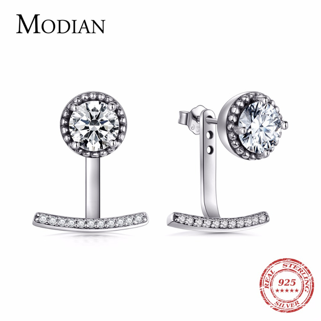 Modian High Quality 6Ct Clear CZ Fashion Real 925 Sterling Silver Stud Earrings Sparking Classic Vintage For Women Jewelry