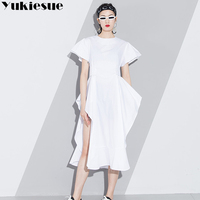 summer dress women vestidos verano 2018 white black ruffles high waist flaer sleeve female dresses for women maxi pary dress