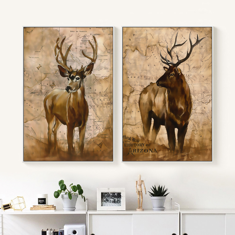 Bianche Wall Retro War Style Decorative Animal Deer Canvas Painting Art Print Poster Paintings Home Bedroom Decoration
