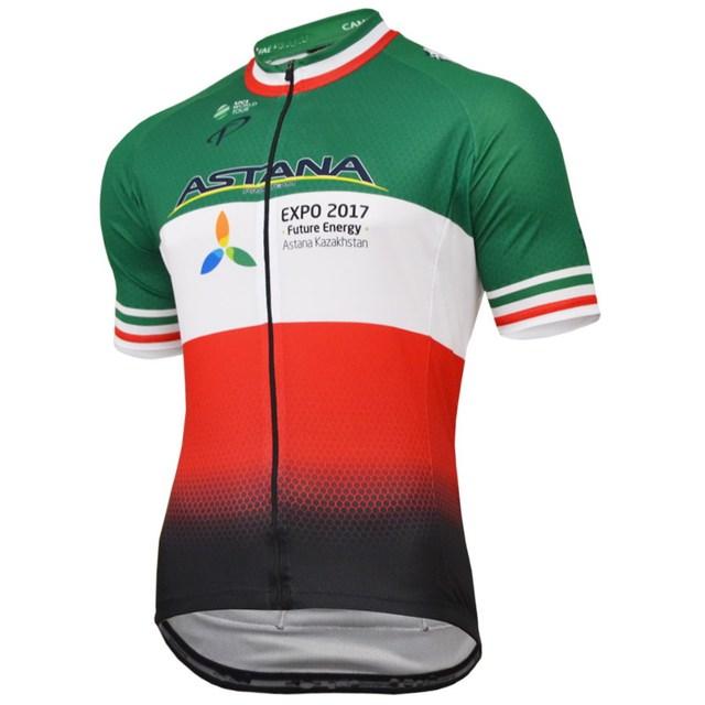 682bbd410e7f 2017 ASTANA PRO TEAM ARU ITALIA CAMPIONE SOLO MANICA CORTA ROPA ciclismo  MAGLIA CICLISMO ESTATE USURA