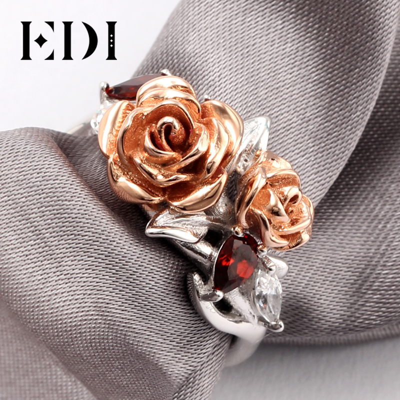 EDI Romantic Rose Series Real 925 Sterling Silver Engagement Ring Double Rose Luxury Natural Garnet Love