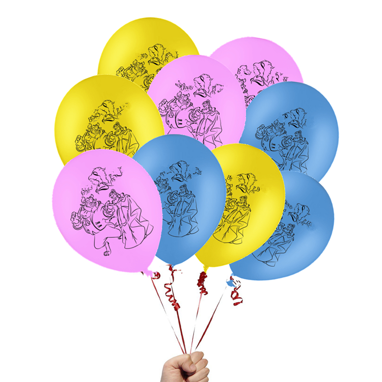 12Pcs Beauty And The Beast Latex Balloons Moana Bell Princess Cartoon Globos Baby Birthday Party Supplies Love Wedding Decor