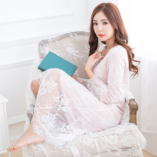 Autumn retro Chinese style palace Ting Leisi long section long-sleeved cotton nightdress fashion tracksuit