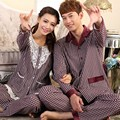 Women's pajamas Spring and autumn lovers Men sleepwear long-sleeve knitted 100% cotton nightshirt Couple lounge pajama set 4XL