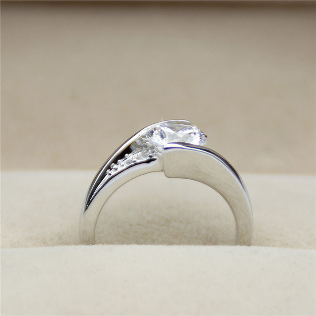9K White Gold 1CT Real Lab Grown Diamond Solitaire Engagement Wedding Ring