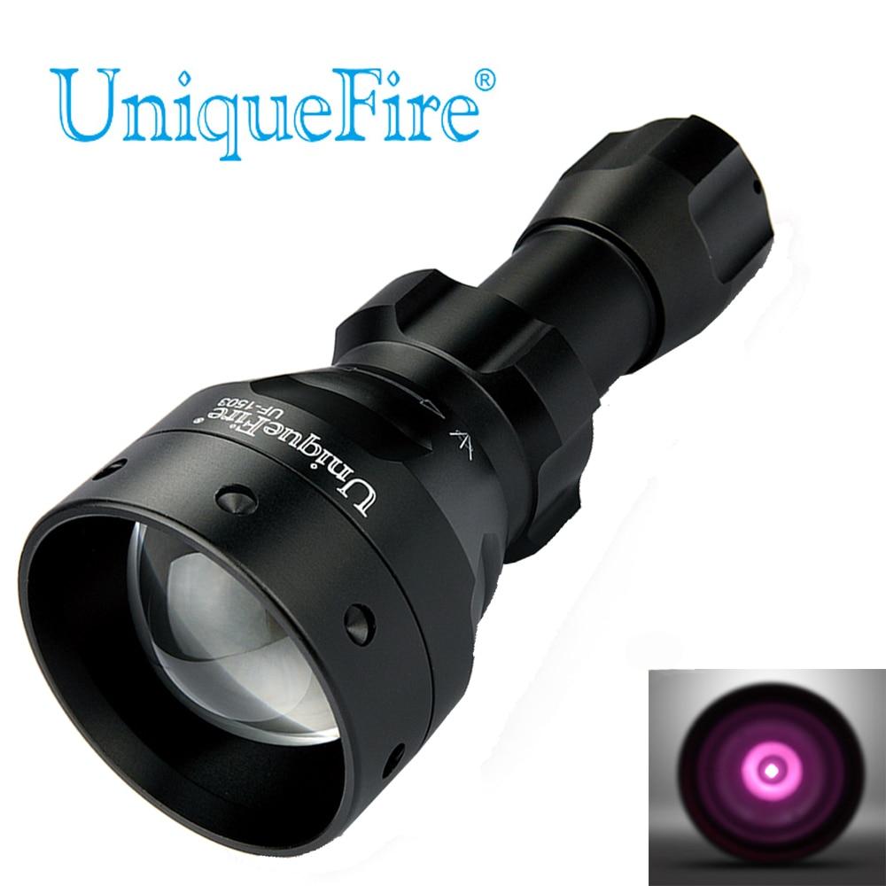 UniqueFire Black Lommelygte UF-1503 IR 940nm Led Lys 50mm Konvex Lins Aluminium Fakkel Zoom 3 Modes Genopladelig Batteri Lampe