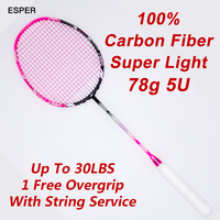 High Quality Super Light Badminton Racket Carbon Fiber 5U High Tension Badminton Racquets With String For Trainer Beginner Adult