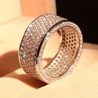 Полная большая акция роскошный 320 шт. 5A CZ 10kt Белое золото Заполненный Свадебный круг Женское Обручальное кольцо Pave кольцо Рождественский по