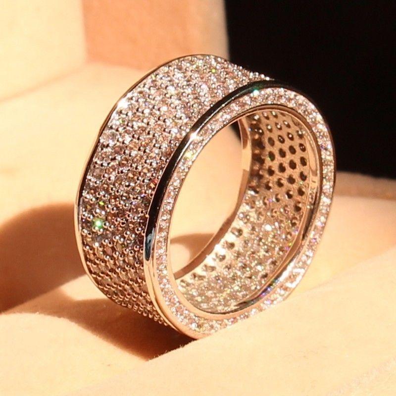 Penuh promosi Besar Mewah 320 pc 5A CZ 10kt emas putih diisi Pernikahan Lingkaran Wanita Engagement Pave Ring hadiah natal Ukuran 5-11