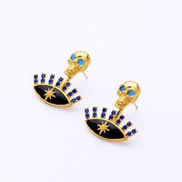 Devil's Eye Skull Star Micro inlaid Blue Personality S925 Silver Needle Ear Nail in Europe and America Earring For Women