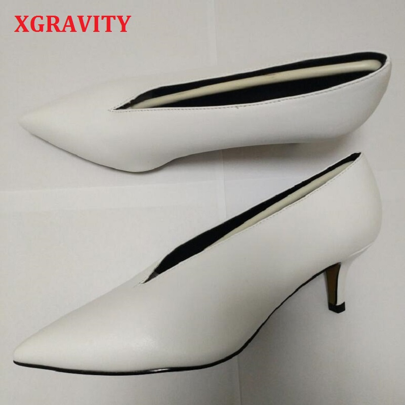 Xgravity New Pop Sexy Pointed Toe Girl Thin Heel Woman Shoes Deep V Design Lady Fashion Shoes Elegant European Women Shoes A264