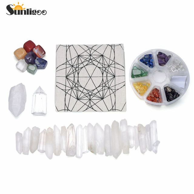 Sunligoo Latest Chakra Crystal Healing Grids Kit/Include Grids Altar Cloth 7 Chakra Assorted Chips Balancing Stones Clear Quartz