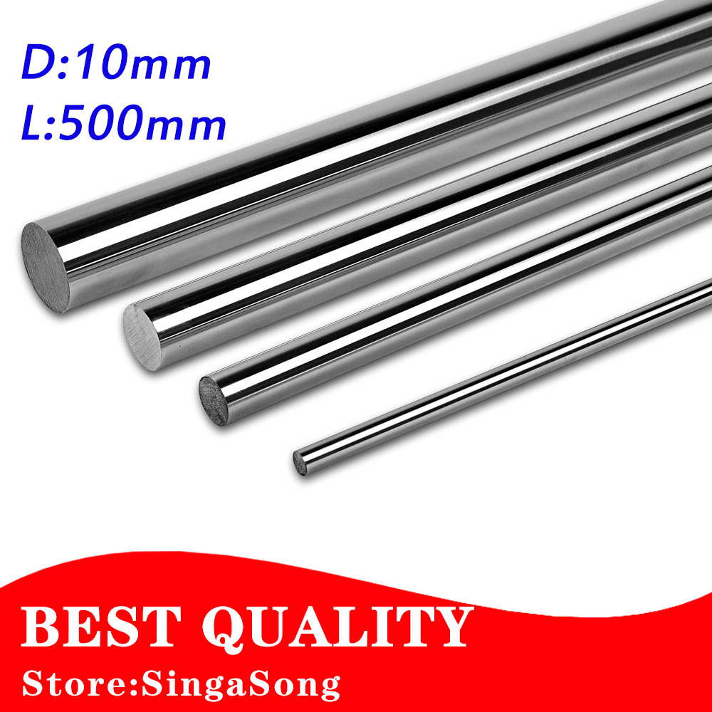 10mm L500mm chrome plated cylinder linear rail round rod shaft linear motion shaft cnc parts диски helo he844 chrome plated r20