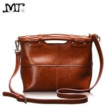 MJ Women Leather Handbags Vintage Bag Female Messenger Bag Oil Waxing Split Leather Ladies Crossbody Tote Handbag Large Capacity