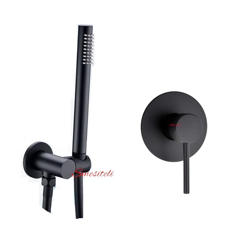 Smesiteli 5 Yr Warranty Solid Brass Matte Black Bathroom Handheld Shower Head with Hose and Bracket