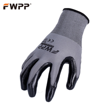 FWPP 12 Pairs of Protective Work Gloves oil-proof Breathable Non-slip Wear-resistant Nitrile Coated Factory Garden Warehouse