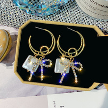 DREJEW Butterfly Square Gold Crystal Rhinestone Statement Earrings Sets 2019 925 Drop Earrings for Women Wedding Jewelry HE4011 a suit of graceful rhinestone butterfly earrings for women
