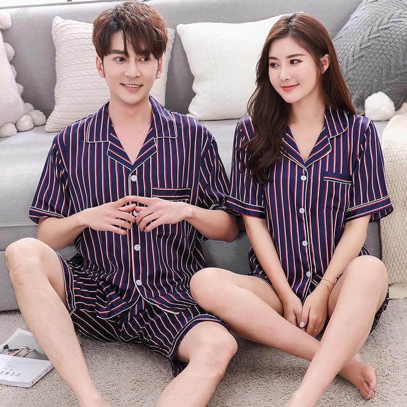 BZEL 2019 חדש פסים קצר שרוול זוג פיג 'מה סט גברים נשים קיץ תורו למטה צווארון הלבשת הלבשה תחתונה שתי חתיכה pyjama חליפה