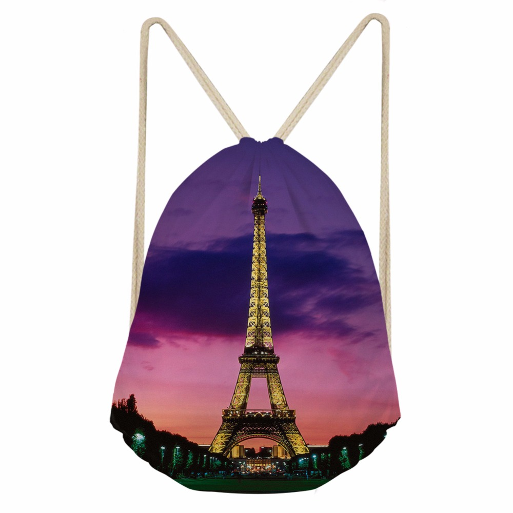 Noisydesigns Faye Bag Eiffel Tower Retro Printed Women's Drawstring Bags Travel Mini Backpack For Girls Shopper Bag Shoe Bag