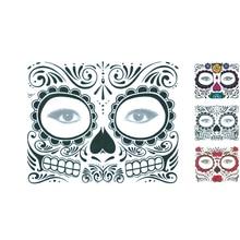 Skull Long Lasting Full Face Mask Halloween Cool Beauty Tattoo Waterproof  Costume Makeup Cosplay Sticker ef7f28d1eab7