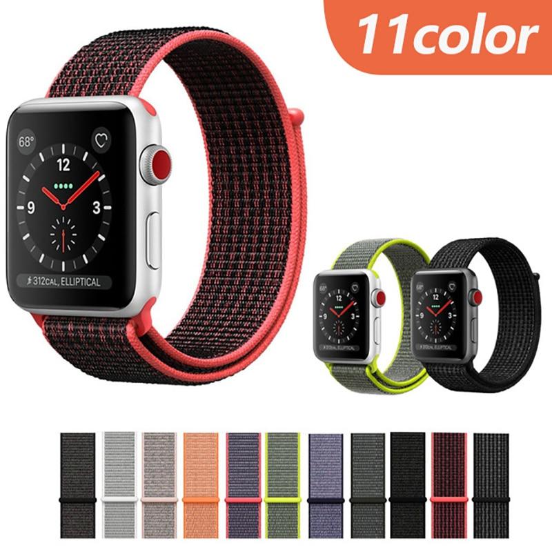 Nylon Sport Loop Fastener Adjustable Closure Wrist Strap Replacment Band for iwatch Apple Watch Series 3 2 1 bracelet 38 42mm