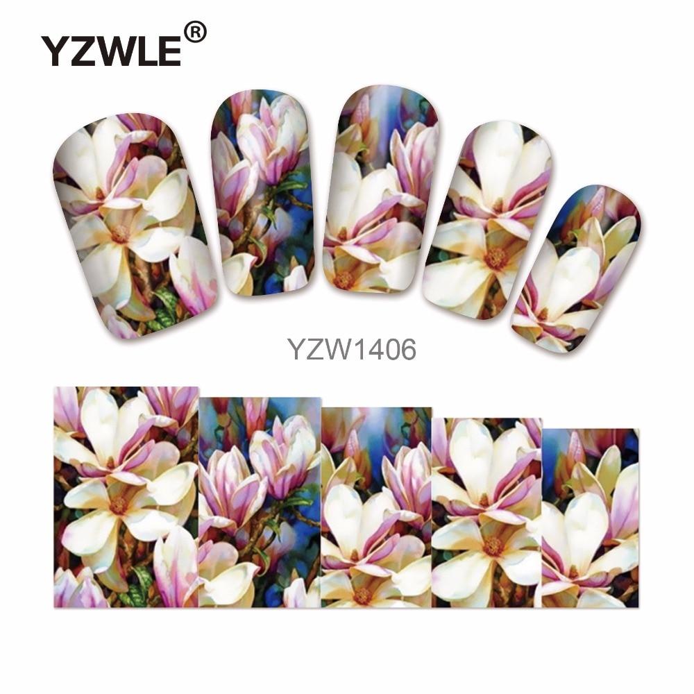 YZWLE 1 Sheet Chic Flower Nail Art Water Decals Transfer Stickers Splendid Water Decals Sticker(YZW-1406) yzwle 1 sheet chic flower nail art water decals transfer stickers splendid water decals sticker yzw 1398