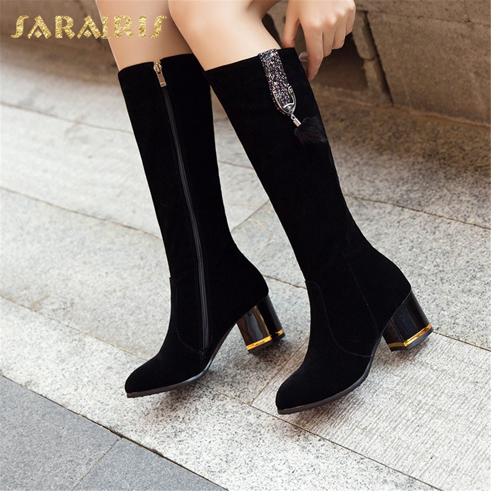 SARAIRIS New plus Size 33-43 Zip Up Hot Sale Women Shoes Woman Boots Chunky Heels Mid Calf Boots Woman Shoes anime naruto shippuden uchiha itachi brinquedos pvc action figure toys collectible model doll juguetes kids toys 23cm