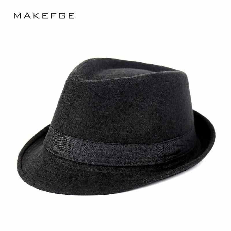 b26991f6f197 La Mafia sombrero hombres sombreros de fieltro de lana de Jazz plana  sombrero Bowler de la iglesia de Homme Cappello Fedora primavera invierno