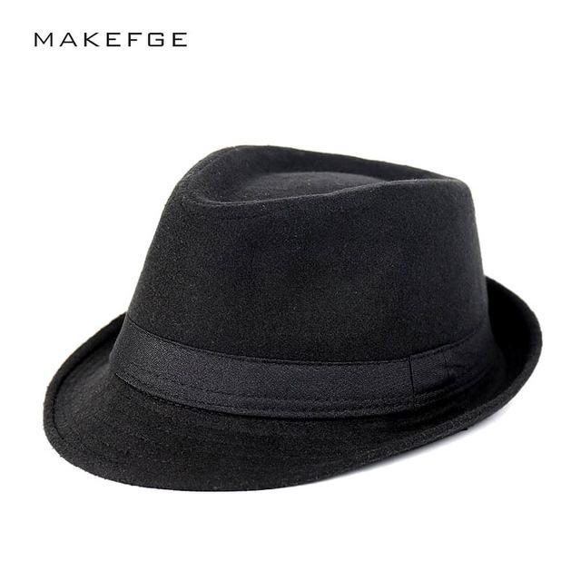 Mafia Hat Men Wool Felt Hats Jazz Flat Top Hat Bowler Church Cap Homme  Cappello Fedora Spring Winter Cap 68c4b2d31de