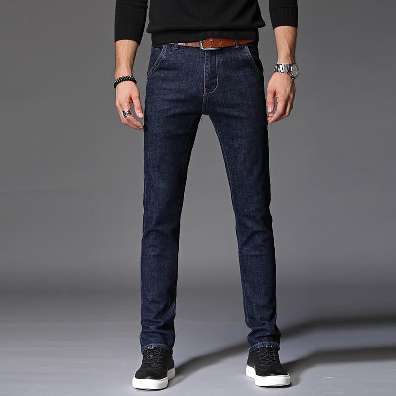 Pants Men Slim Elasticity Pantalon Mens Jeans Homme Fashion Male Solid Color Soft Comfortable Stretch Denim Trousers size 28-38