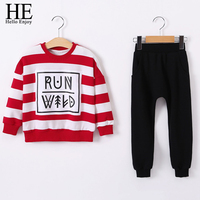 HE Hello Enjoy Girl Clothing Ses Spring Autumn Girls Clothes 2017 Red Striped Letters Design Sweater