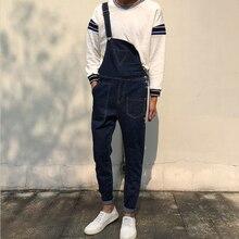 Мужская мода треугольник карман джинсовые комбинезоны Случайные голеностопного длина комбинезоны Тонкие джинсы