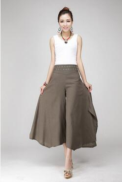1pcs/lot free shipping summer new women printing trousers cotton linen pants casual pants ankle-length pants wide leg pants