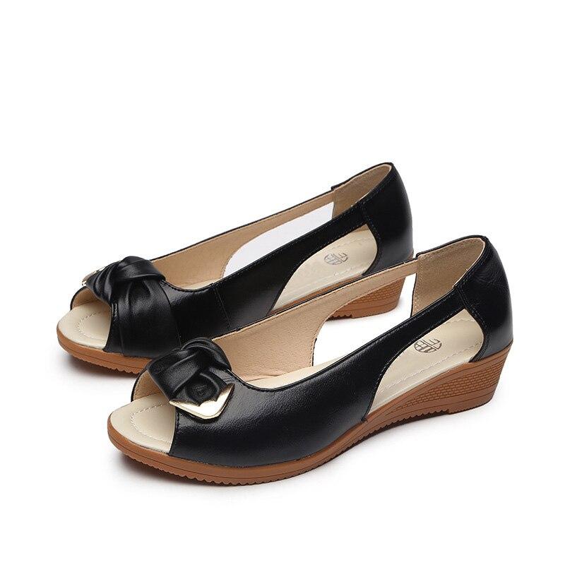 Decoración black Diseño Peep Bowknot blue Mujer Toe Exquisito Beige Verano Genuino Sandalias Sexy Cuero 41 Zapatos Nuevo Mujeres Cuña Oukahui IwUx7qOx