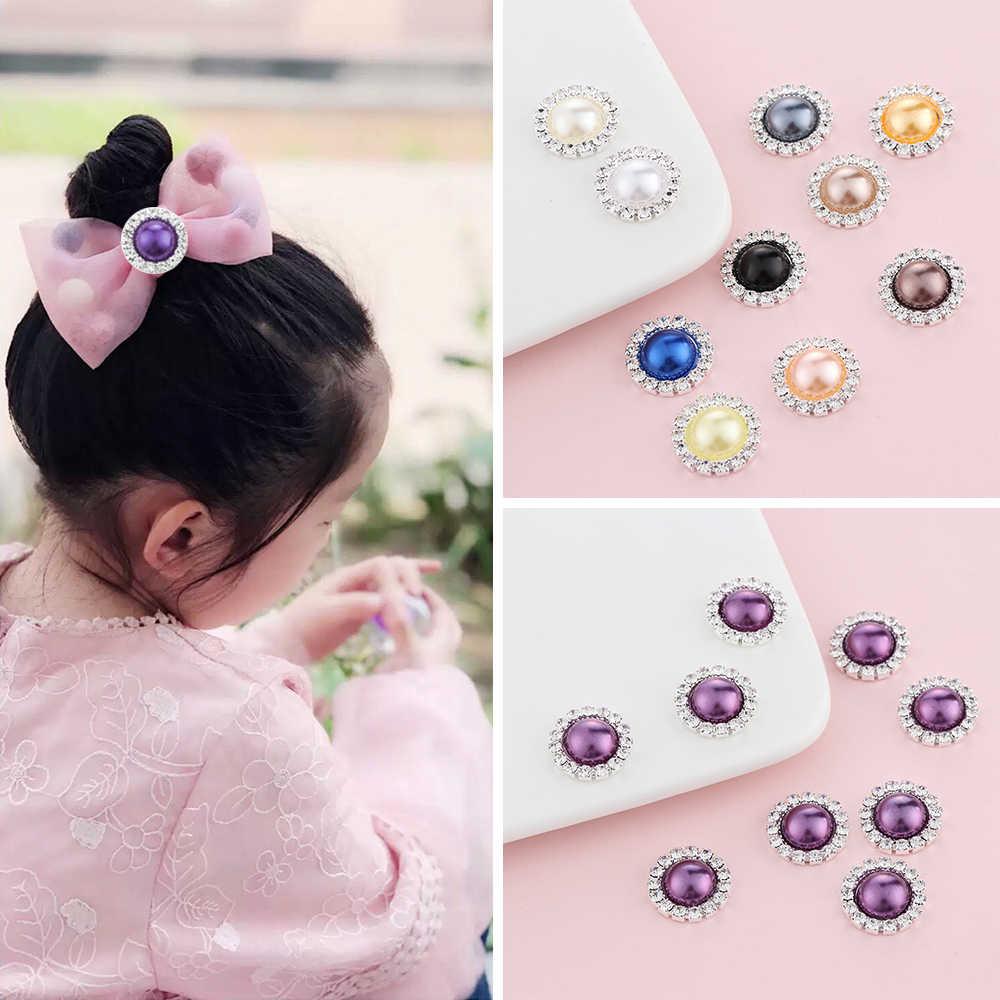 Populaire 10 Stks/partij 15Mm Parel Bruiloft Diamanten Sieraden Knoppen Outlets Steentjes Knop Mooie Diy Haar Accessoire Decoratieve